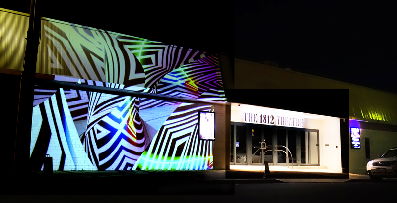Colour the night with digital projections on the 1812 Theatre, Upper Ferntree Gully