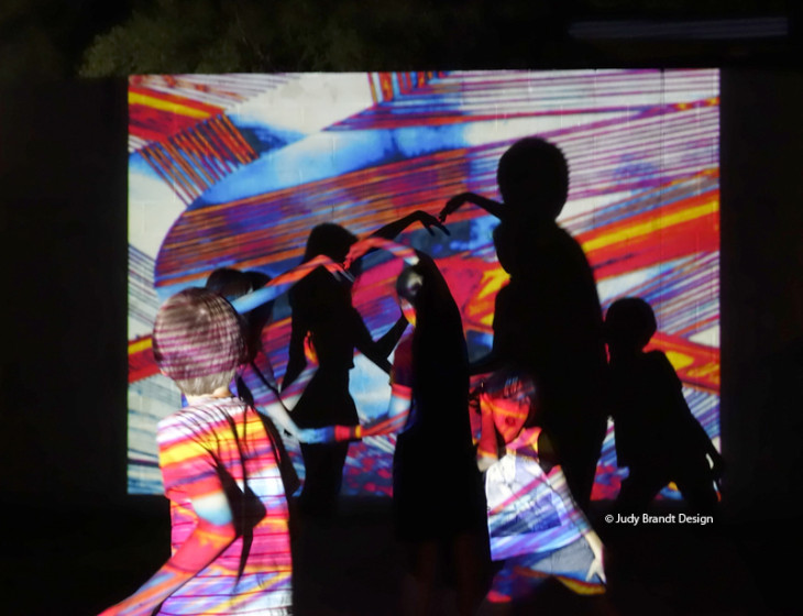 Great fun on NYE in Edinburgh Gardens, Fitzroy North with Projections by Judy Brandt